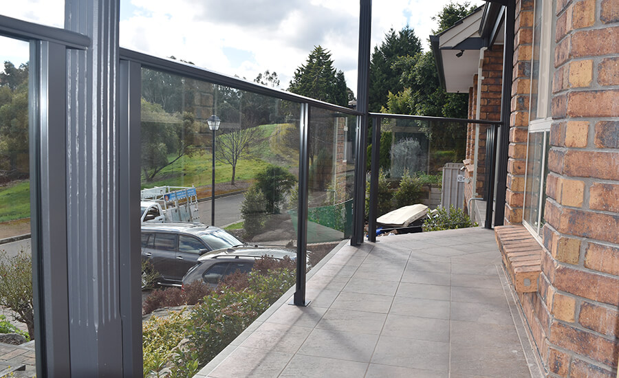 Residential balcony with a glass balustrade